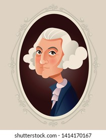 George Washington Vector Caricature Illustration. Portrait of the first American president USA leader