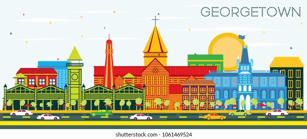 Georgetown City Skyline with Color Buildings and Blue Sky. Vector Illustration. Business Travel and Tourism Concept with Modern Architecture. Georgetown Cityscape with Landmarks.
