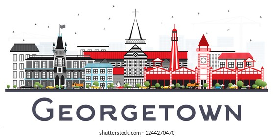 Georgetown Guyana City Skyline with Gray Buildings Isolated on White. Vector Illustration. Business Travel and Tourism Concept with Modern Architecture. Georgetown Cityscape with Landmarks.