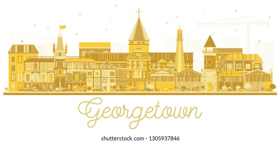 Georgetown Guyana City Skyline Silhouette with Golden Buildings Isolated on White. Vector Illustration. Tourism Concept with Modern Architecture. Georgetown Cityscape with Landmarks.