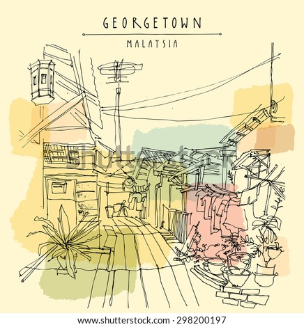 georgetown malaysia southeast asia traditional wooden stock vector rh shutterstock com