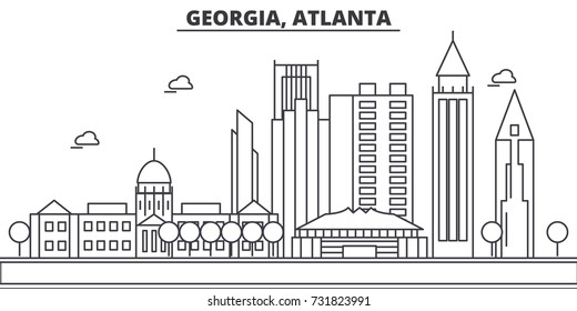 Georgia, Atlanta architecture line skyline illustration. Linear vector cityscape with famous landmarks, city sights, design icons. Landscape wtih editable strokes