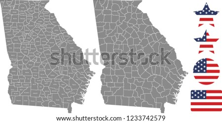 Georgia County Map Vector Outline Gray Stock Vector (Royalty Free ...