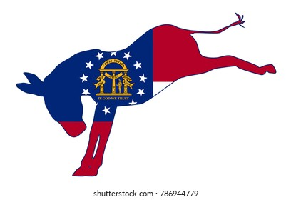 The Georgia Democrat party donkey flag over a white background