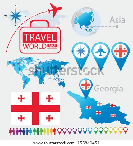 Map Of Georgia In Asia.Georgia Flag Asia World Map Travel Stock Vector Royalty Free