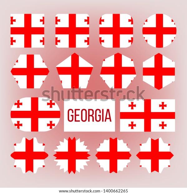 Georgia Flag Collection Figure Icons Set Signs Symbols Stock Image