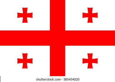 Georgia flag , Five Cross Flag , official colors and proportion , accurate vector illustration