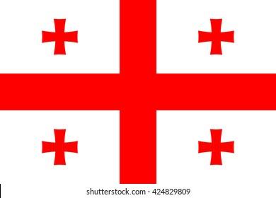 Georgia flag, official colors. National Georgia flag. Vector illustration. EPS10.
