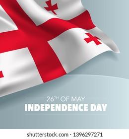 Georgia happy independence day greeting card, banner, vector illustration. Georgian national day 26th of May background with elements of flag, square format