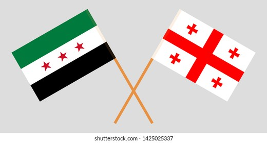 Georgia and Interim Government of Syria. Crossed Georgian and Coalition flags