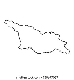 Georgia map of black contour curves on white background of vector illustration