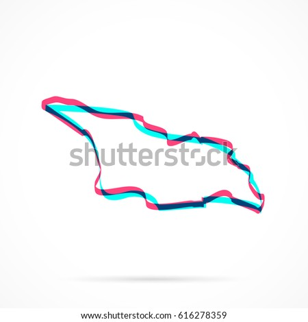 Georgia Map Hand Drawn Blue Pink Stock Vector (Royalty Free