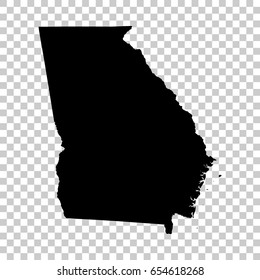 Georgia map isolated on transparent background. Black map for your design. Vector illustration, easy to edit.
