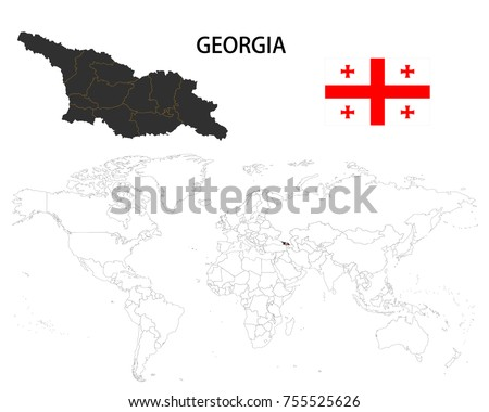Georgia Map On World Map Flag Stock Vector Royalty Free 755525626