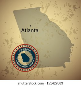 Georgia map with stamp vintage vector background