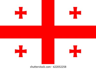 Georgia national five cross flag, red on white, symbolic element, patriotic symbol of country, flat vector illustration