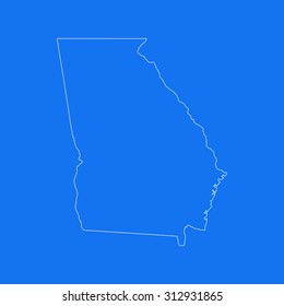 Georgia outline map, stroke. Line style. White and blue. Vector EPS8