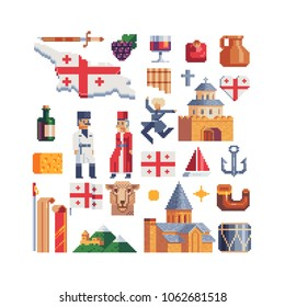 Georgia pixel icons set part 4 georgian culture and symbols, national flag, house, horn, wine and drum, man and woman character in traditional clothes isolated vector illustration. Design logo and app
