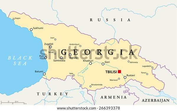 Map Of Georgia With Capital.Georgia Political Map Capital Tbilisi National Stock Vector Royalty
