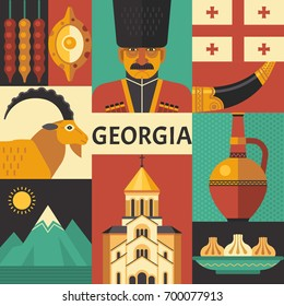 Georgia poster concept. Vector illustration with Georgian culture, food and nature icons, including Georgians Highlander, khinkali, khachapuri, Jug of Wine and Horn for Wine. Isolated on background.
