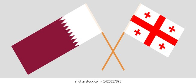 Georgia and Qatar. Crossed Georgian and Qatari flags