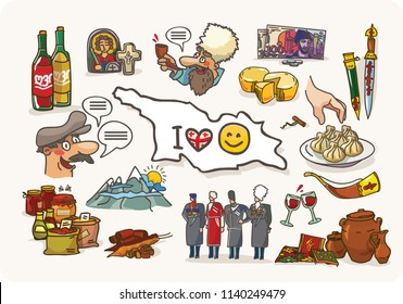 Georgia set. Vector collection of Georgian culture and symbols images, including Georgians Highlander, khinkali, khachapuri, church, Jug of Wine, Horn for Wine, dagger and flag. Georgia travel and tou