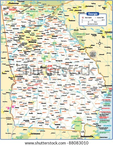 Georgia State Map Stock Vector (Royalty Free) 88083010 - Shutterstock