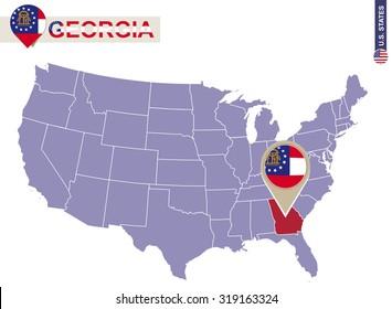 Georgia State on USA Map. Georgia flag and map. US States.