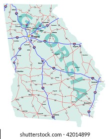 Georgia state road map with Interstates, U.S. Highways and state roads. All elements on separate layers for easy editing. Raster (JPG) version of this image also available.