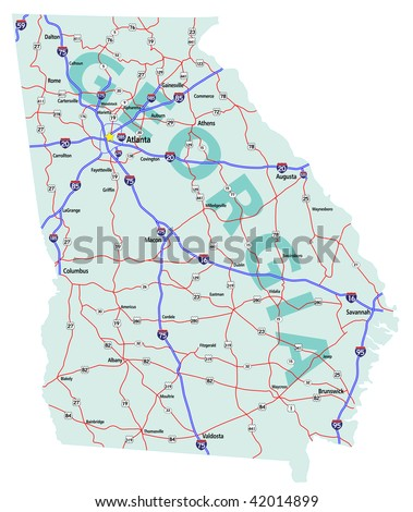 Georgia State Road Map Interstates US Stock Vector (Royalty Free ...