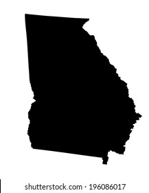 Georgia State vector map silhouette isolated on white background. High detailed silhouette illustration. United state of America country.