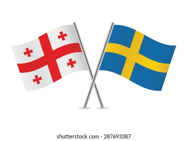 Georgia and Sweden flags. Vector illustration.