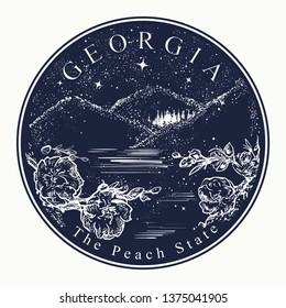 Georgia. Tattoo and t-shirt design. Welcome to Georgia, (USA). The peach state slogan. Travel art concept