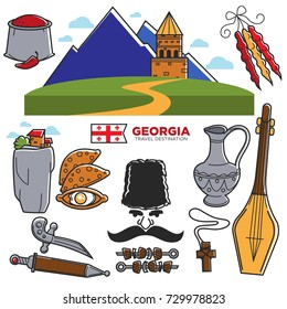 Georgia travel and tourism famous Georgian culture landmarks sightseeing vector icons