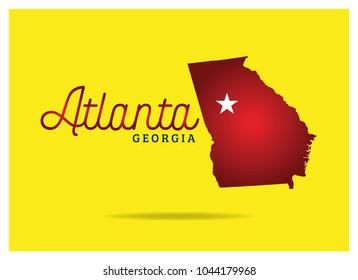 Georgia US state Map with Atlanta city name vector eps 10