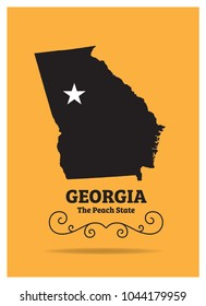 Georgia US state Map with Nickname-The Peach State Vector EPS 10