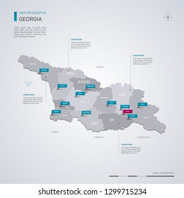 Georgia vector map with infographic elements, pointer marks. Editable template with regions, cities and capital Tbilisi.