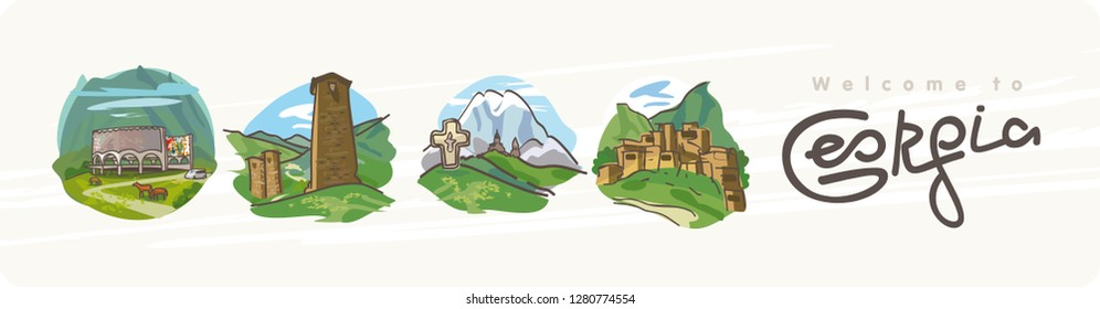 Georgia. World travel. Decorative Text. North Caucasus: Panoramic view. Poster, postcard, calendar. A set of images of popular tourist routes in Georgia. Mountain landscapes, towers, arch of friendshi