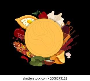 Georgian cuisine Banner Menu.Asian Traditional Food.Different dishes Broadsheet Poster.Adjarian khachapuri,khinkali,shashlik,dumpling,dolma,dishes.Flat Vector illustration isolated on white background