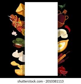 Georgian cuisine Banner Menu.Asian Traditional Food Leaflet.Different dishes Broadsheet Poster.Adjarian khachapuri,khinkali,shashlik,dolma,dishes.Flat Vector illustration isolated on black background