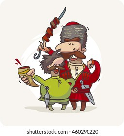 Georgian cuisine. Two Caucasus characters from the cartoon. Men with a barbecue and wine.