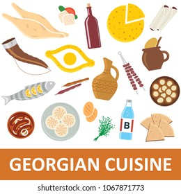 Georgian cuisine vector illustration. Georgian national food icons, isolated on a white background.