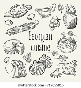 Georgian Food Hand Drawn. Georgia Traditional Cuisine with Dumpling and Khinkali. Vector illustration
