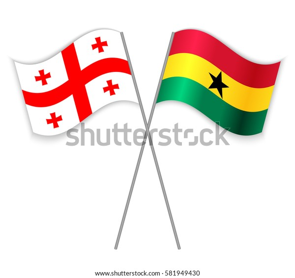 Georgian and Ghanaian crossed flags. Georgia combined with Ghana isolated on white. Language learning, international business or travel concept.