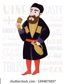 Georgian man character from the cartoon with jug and horn. Сharacter vector illustration