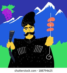 Georgian man with wine and kebab in hands
