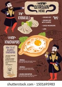 Georgian menu restaurant with characters. Flat vector food illustration with Georgian men.