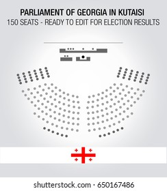 The Georgian Parliament seating plan. 150 seats ready to edit for election results.