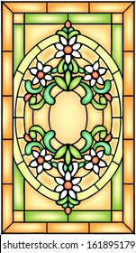 Georgian style, floral symmetric composition, vector illustrations in stained glass window