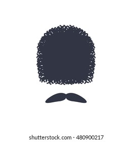 georgian traditional hat and mustache. vector illustration